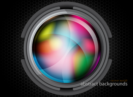 Illustration for Glossy metal colors circle in dark scene vector graphics wallpaper backgrounds - Royalty Free Image