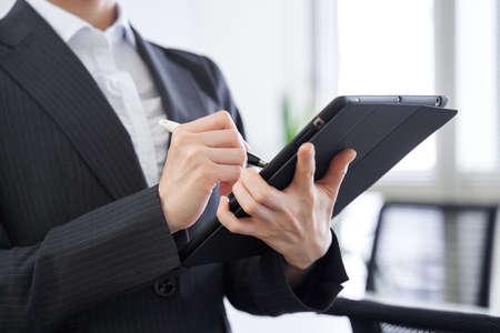 Photo pour Japanese female businesswoman interviewing in the office - image libre de droit