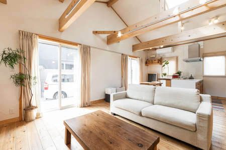 Photo pour Living room of a house with a country-style design - image libre de droit