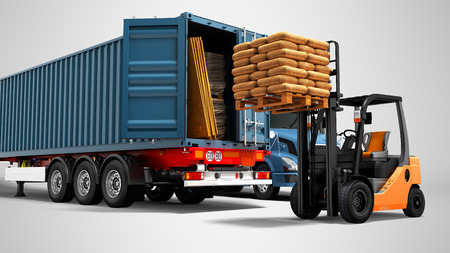 Photo for Modern concept of loading and unloading cargo from blue from truck with trailer with building materials and an orange forklift with pallet isolated 3d render on gray background with shadow - Royalty Free Image