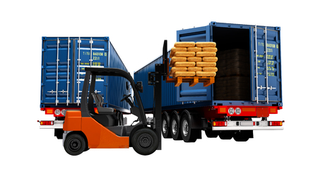 Photo for Freight, package packaging, warehouse logistics and the concept of loading and unloading cargo, two trucks with building materials and forklift with pallet, isolated 3d render on white background no shadow - Royalty Free Image