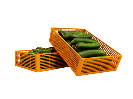 Yellow two plastic box with zucchini front view 3d render on white background no shadow