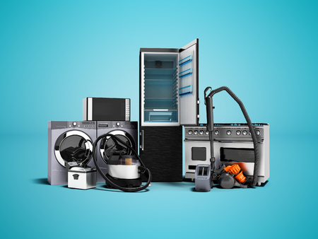 Foto de Household appliances group of vacuum cleaners refrigerator microwave washing machine washing machine gas stove 3d render on blue background with shadow - Imagen libre de derechos
