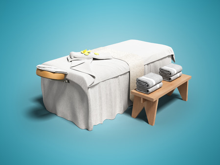 Photo pour Modern white massage bed with folded towels left view 3d render on blue background with shadow - image libre de droit