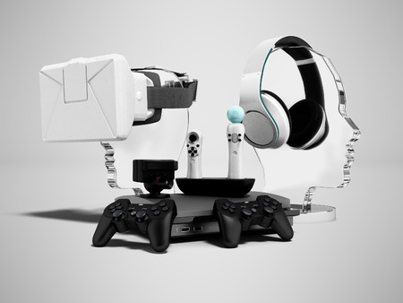 Modern concept of gaming consoles headphones virtual reality glasses portable joysticks 3d render on gray background with shadow