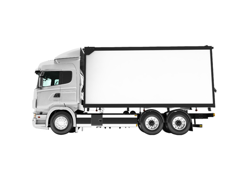 Photo for White truck with trailer isolated side view 3d render on white background no shadow - Royalty Free Image