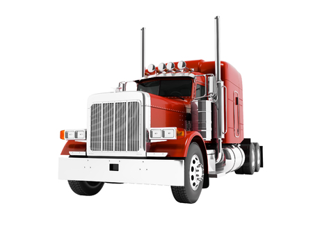 Photo for Modern red dump truck for transportation of trailers 3d render on white background no shadow - Royalty Free Image