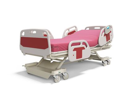 Photo for Concept red hospital bed semi automatic isolated 3d render on white background with shadow - Royalty Free Image