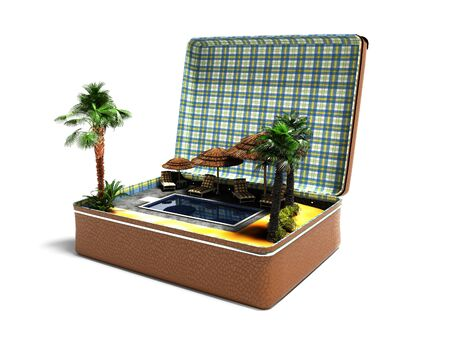Photo for Concept summer vacation in leather suitcase swimming pool beach umbrellas palm trees perspective 3d render on white background with shadow - Royalty Free Image
