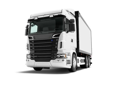 Photo for White truck with black inserts with carrying capacity of up to five tons rear view 3d render on white background with shadow - Royalty Free Image