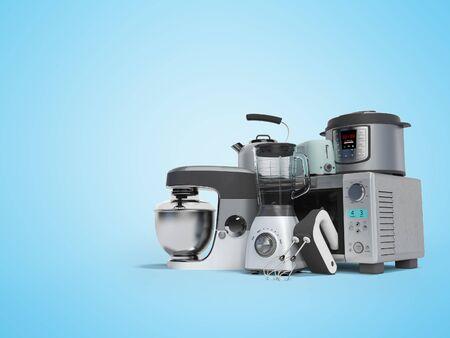 Foto de Concept set of household appliances for the kitchen pressure cooker blender mixer electric kettle 3d render on blue background with shadow - Imagen libre de derechos