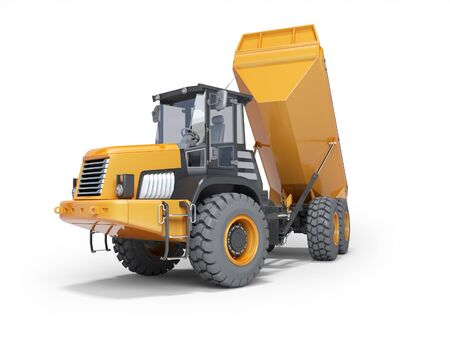 Photo pour Dump truck with trailer unloading 3d rendering on white background with shadow - image libre de droit
