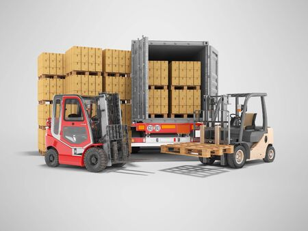Photo for 3d rendering group of forklift truck loading boxes on pallets into truck on gray background with shadow - Royalty Free Image