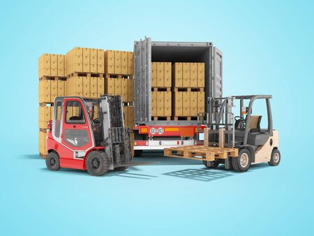 Photo for 3d rendering group of forklift truck loading boxes on pallets into truck on blue background with shadow - Royalty Free Image