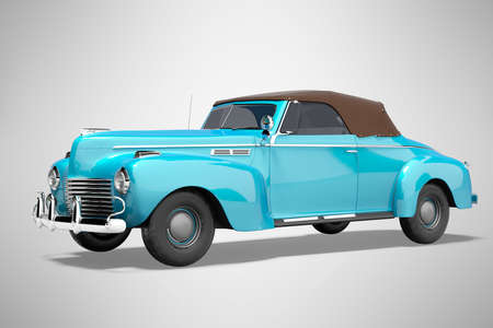 Photo pour 3d rendering blue classic convertible leather car isolated on gray background with shadow - image libre de droit