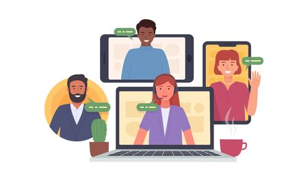 Illustration pour Video conference. Colleagues taking part in video conference in home. Virtual work meeting. Software for online communication. Vector illustration - image libre de droit