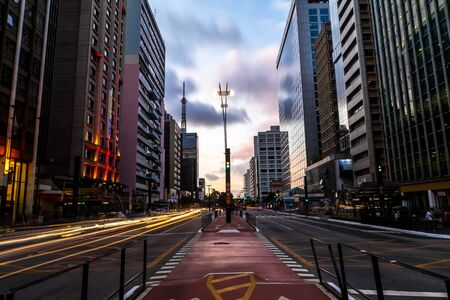 Photo pour Paulista Avenue, financial center of the city and one of the main places of Sao Paulo, Brazil - image libre de droit