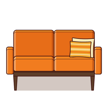 Ilustración de Couch icon. Vector. Sofa in flat design. Orange furniture with cushion. Linear retro illustration in line art style. Vintage house equipment for living room isolated on white background. - Imagen libre de derechos