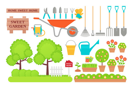 Illustration for Garden tools. Gardening collection. Vector.  Instrument icons for horticulture shovel, watering equipment, scissors, rake, seed, plant, pruner. Set isolated white background. Cartoon flat illustration - Royalty Free Image
