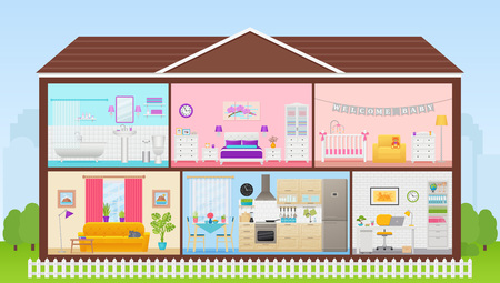 Illustration pour House interior. Vector. Cartoon house cross section. Home inside, in cut. Rooms bedroom, living room, kitchen, office, bathroom, nursery. Cutaway building with roof. Illustration in flat design. - image libre de droit