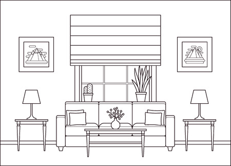 Illustration for Living room interior. Linear room with window in flat design. Vector. Outline background. Home space with furniture in line art. Lounge line illustration. Cartoon house equipment. Coloring page. - Royalty Free Image