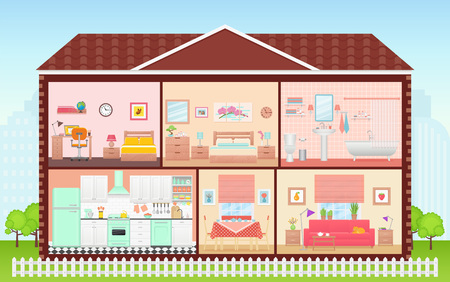 Illustration pour House inside, room interior. Vector. Cartoon house cross section. Home in cut. Bedroom, living room, kitchen, bathroom and nursery. Cutaway building with roof. Illustration in flat design. - image libre de droit