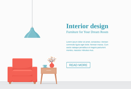 Living Room Interior Vector Room With Coral Armchair Table Lamp On Empty White Wall With Space For Text Template Banner Modern Background Cartoon Illustration Flat Furniture Home Design Royalty Free Vector Graphics