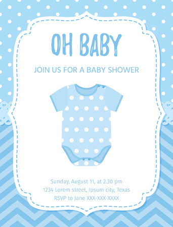 Illustration for Baby Shower invite card. Vector. Baby boy blue design. Welcome template invitation banner. Birth party background. - Royalty Free Image