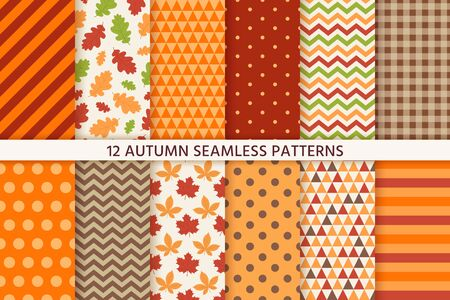 Illustration pour Autumn pattern. Vector. Seamless background with fall leaves, zig zag, polka dot and stripes. Set seasonal geometric wallpapers. Colorful cartoon illustration in flat design. Abstract texture. - image libre de droit