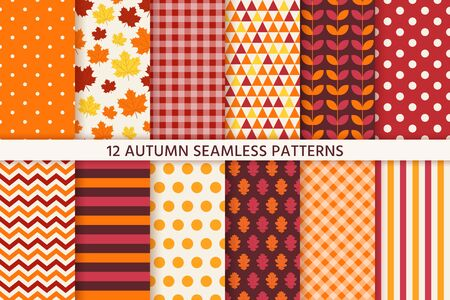 Illustration for Autumn pattern. Vector. Seamless background with fall leaves. Set seasonal geometric wallpapers. Colorful cartoon illustration in flat design. Abstract texture. - Royalty Free Image