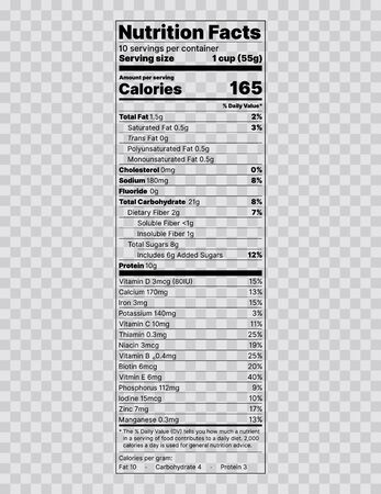 Illustration pour Nutrition facts label. Food information with daily value. Vector illustration. Data table ingredients calorie fat sugar cholesterol. Vertical display with voluntary nutrient. Packaging template design - image libre de droit