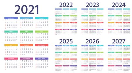 Illustration pour Calendar 2021, 2022, 2023, 2024, 2025, 2026, 2027 years. Week starts Sunday. Simple year template of pocket or wall calenders. Yearly organizer. Stationery color layout. Portrait orientation, English. - image libre de droit