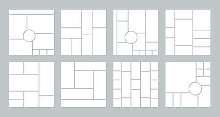 Illustration pour Photo collage grid. Vector. Mood board template. Set of picture grids. Mosaic frame banner. Photography album layout. Moodboard background. Gallery mockup. Simple illustration. Branding presentation. - image libre de droit