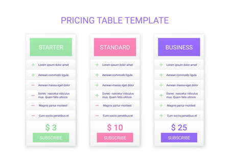 Illustration pour Price table plans. Pricing chart template. Vector. Comparison data grid. Spreadsheet page with 3 columns. Comparative spreadsheets with options. Checklist compare tariff banner. Simple illustration. - image libre de droit