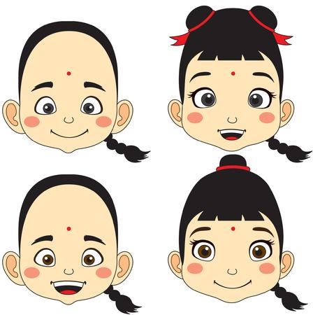 Illustration pour Chinese. Cartoon Face Boy and girl vector illustration - image libre de droit