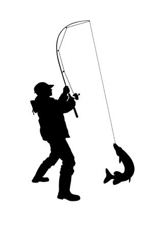 Illustration - fisherman vector