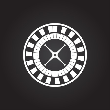 Vector flat white casino roulette wheel icon on dark background