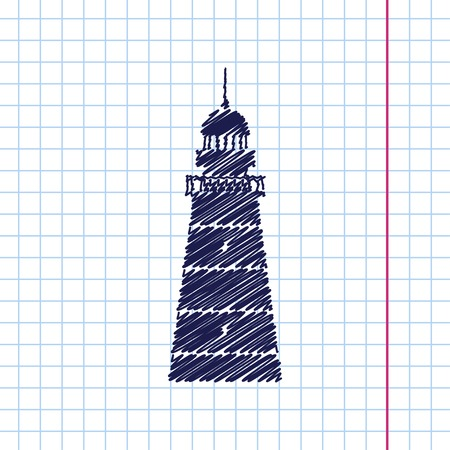 Vector hand drawn lighthouse icon on copybook