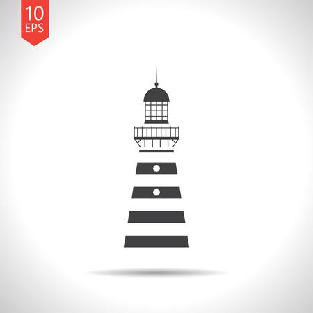 Vector flat black lighthouse icon on white background