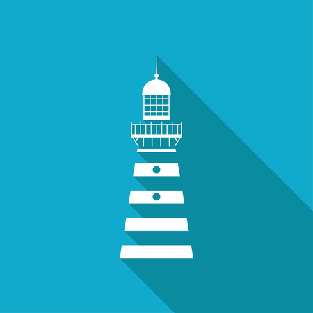 Vector white flat lighthouse icon on blue background