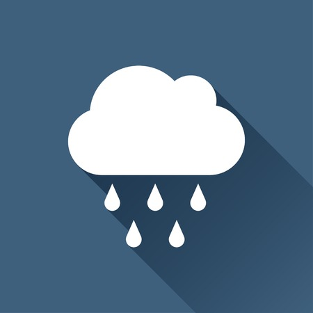Vector white cloud rain icon on dark backgroundのイラスト素材