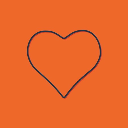 Vector blue game heart icon on orange background
