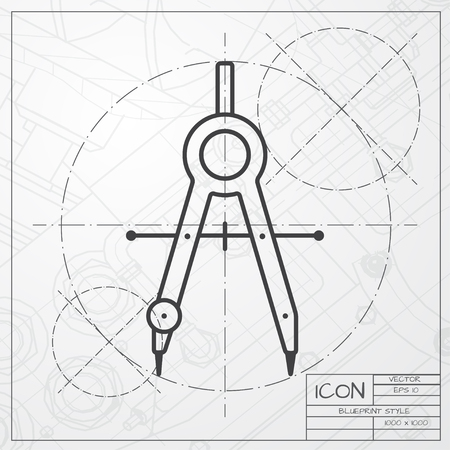 Vector blueprint of compasses icon on engineer or architect background