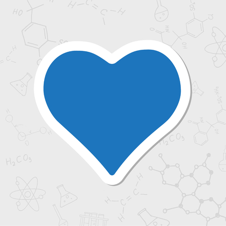 Vector flat sticker game heart icon on white background