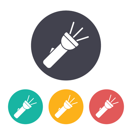 Illustration for Turned on flashlight illustration. Searching flat vector icon - Royalty Free Image
