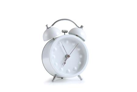 white retro styled alarm clock