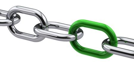 Photo pour Chrome chain with a green link - image libre de droit