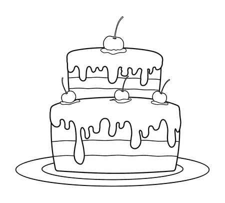 Vektor für Outlined birthday cake for coloring book vector - Lizenzfreies Bild