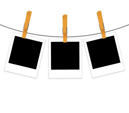 Illustration pour Photo frames on rope with clothespins background - image libre de droit