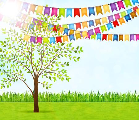 Illustration pour Garden party vector background - image libre de droit